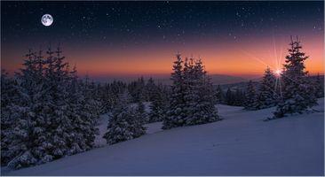 Фото бесплатно пейзаж, сумерки, снег