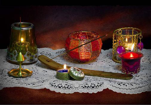 Фото бесплатно стол, свечи, натюрморт