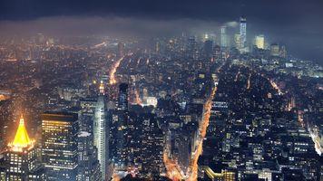 Фото бесплатно город, ночь, Нью-Йорк