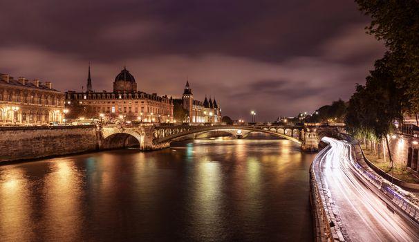 Фото бесплатно ночной город, город, Seine River