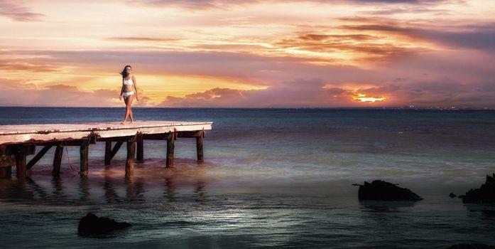 Бесплатные фото закат,море,пирс,причал,девушка,пейзаж
