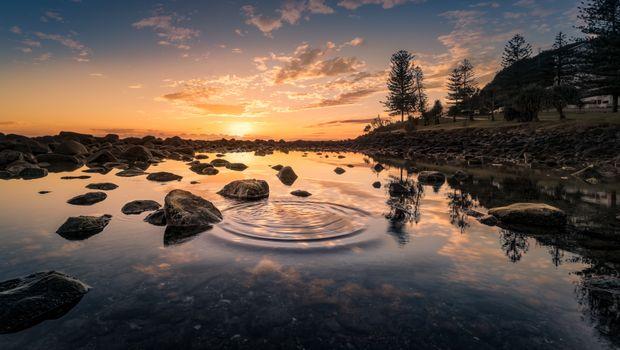 Заставки озеро, прозрачность, закат