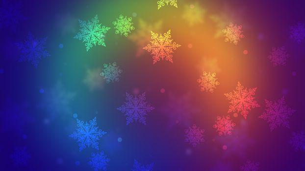 Заставки снежинки, абстракция, цвета радуги