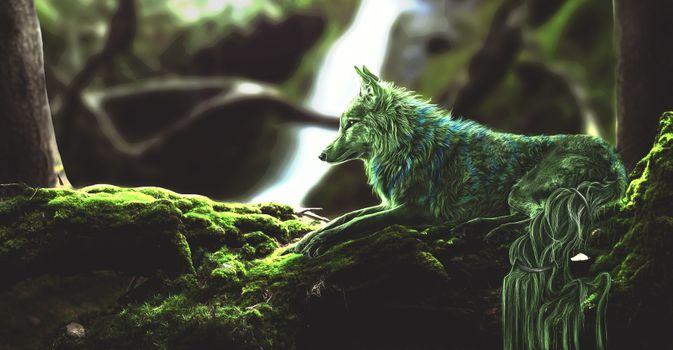 Фото бесплатно лес, зелёная лисица, мох
