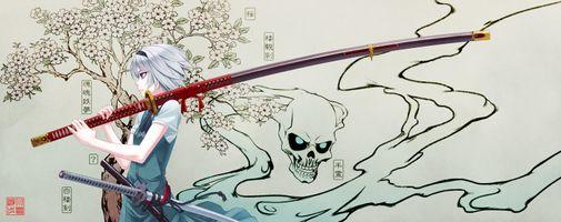 Фото бесплатно аниме, аниме девушка, катана