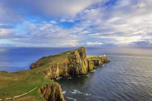 Бесплатные фото Neist Point Lighthouse,Isle of Skye,Маяк Нейст-Пойнт,Остров Скай,закат,остров,море,пейзаж