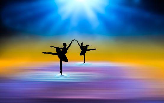 Заставки абстракция,фон,балерины,лучи,цветовая гамма