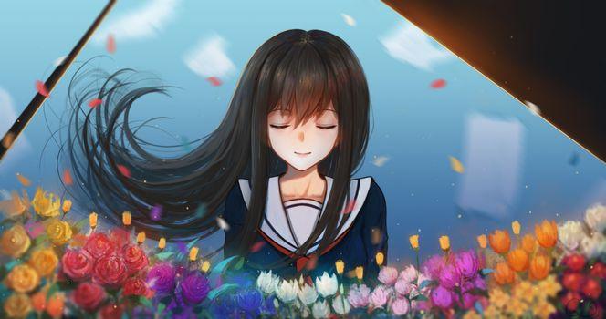 Фото бесплатно аниме школьница, черные волосы, униформа