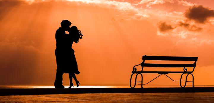 Фото бесплатно пара, поцелуй, любовь