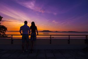 Бесплатные фото пара,закат,море,небо,couple,sunset,sea