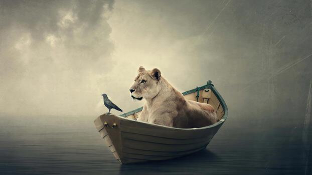 Фото бесплатно лев, лодка, манипуляции