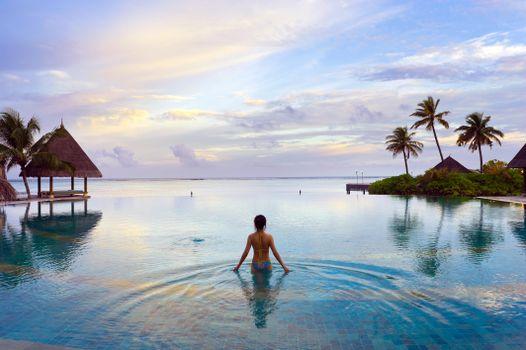 Бесплатные фото Мальдивы,тропики,море,девушка