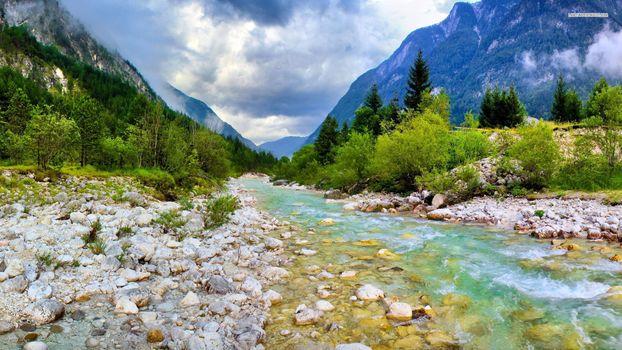 Фото бесплатно ручей, камни, облака