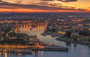 Бесплатные фото Кобленц, Германия, город, закат