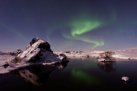 Photo free aurora, Iceland, lake