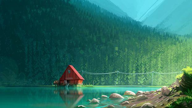 Фото бесплатно произведение искусства, озеро, дом