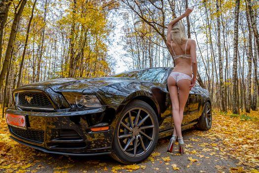 Photo free beautiful girl with car Mustang, autumn, panties