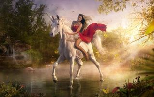 Фото бесплатно лошадь, единорог, девушка