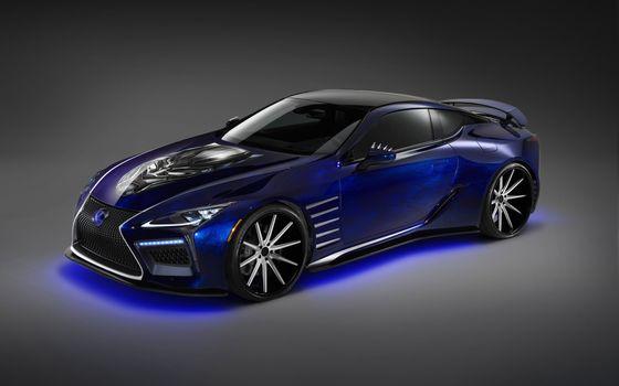 Photo free neon, blue, Lexus LC Black Panther