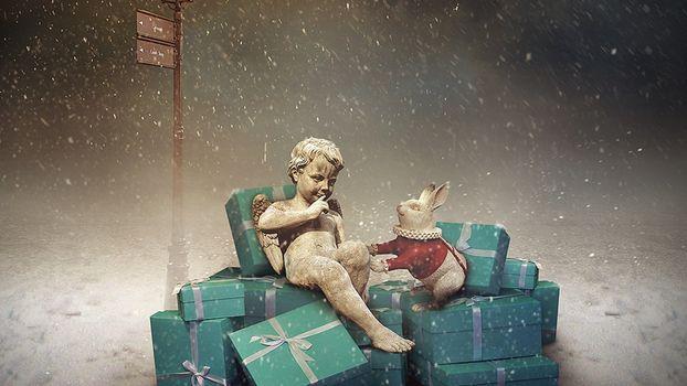 Фото бесплатно рождество, подарки, ангелочек