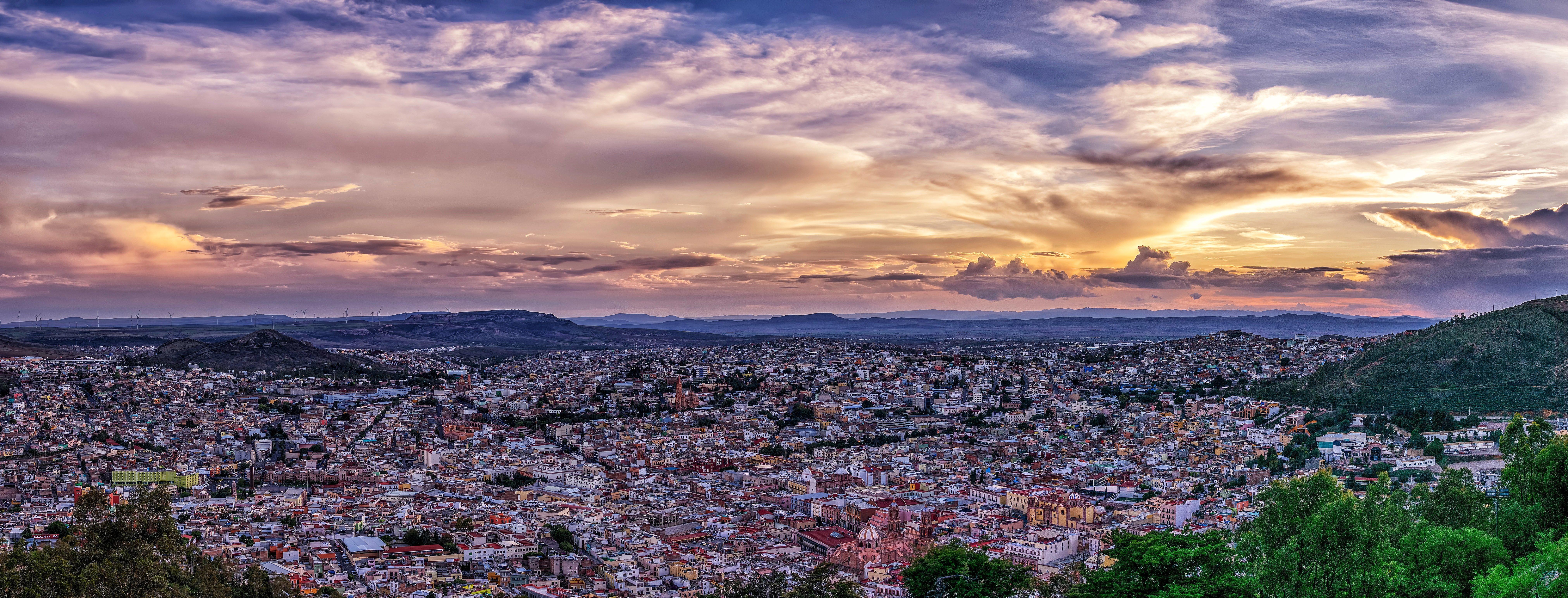 Сакатекас, Мексика, La Bufa, Zacatecas, закат, город, пейзаж, панорама