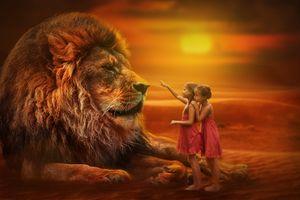 Бесплатные фото лев,хищник,животное,дети,девочки,взгляд,взаимопонимание