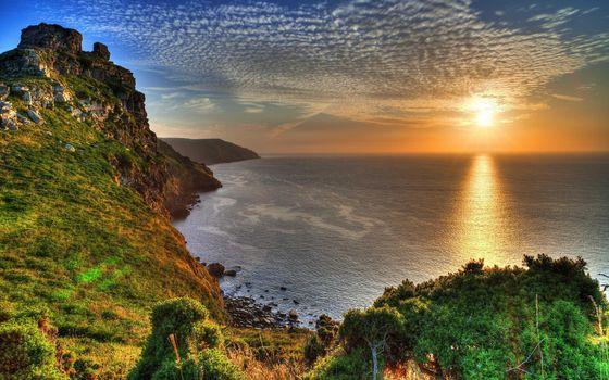 Фото бесплатно закат, береговая линия, горы
