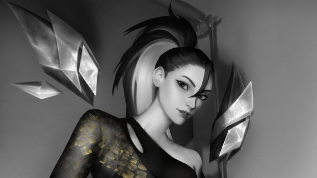 Photo free Kaisa League Of Legends, games, black and white