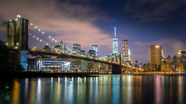 Фото бесплатно бруклинский мост, отражение, горизонт