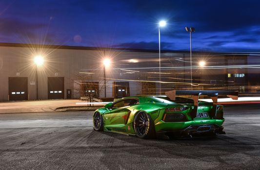Photo free Lamborghini Aventador, parking, lanterns
