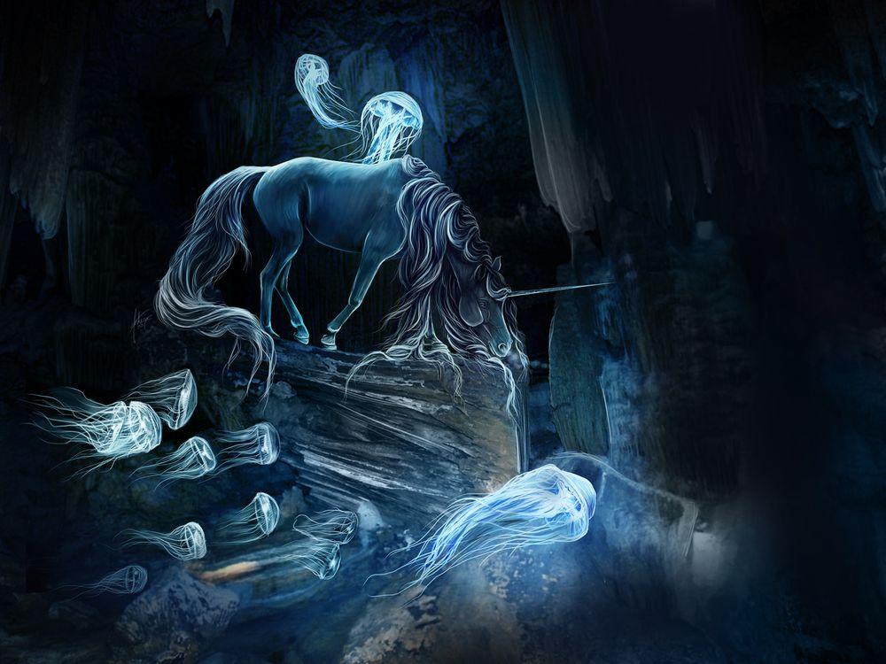 Фото бесплатно лошадь, медузы, art - на рабочий стол