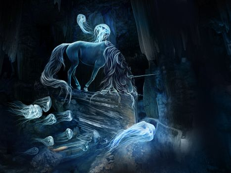 Заставки лошадь, медузы, art