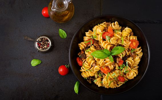Photo free pasta, vegetables, top view