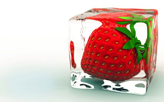 Фото бесплатно клубника, кубик льда, заморожена