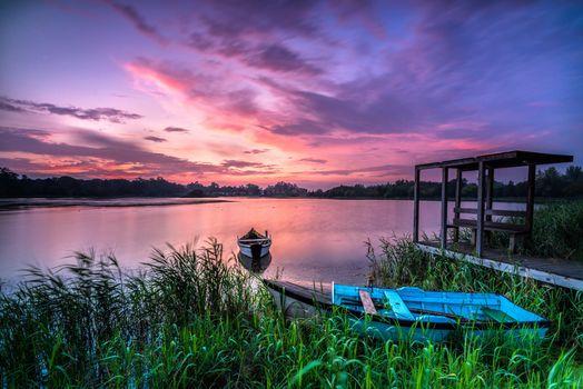 Бесплатные фото водоём,озеро,лодка,пристань,закат,берег,пейзаж