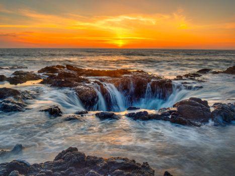 Бесплатные фото Колодец Тора на закате,мыс Перпетуа,штат Орегон,пейзаж