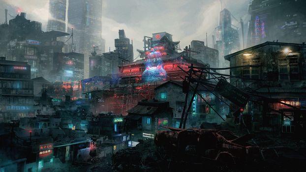 Photo free skyscrapers, futuristic asian building, neon city