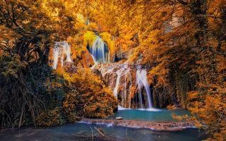 Фото бесплатно осень, река, водопад