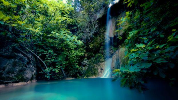 Photo free rock waterfall, rocks, trees
