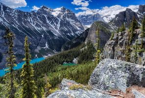 Заставки Озеро Луиз,Fairview Mountain,Alberta,Lake Louise,Канада,озеро,горы