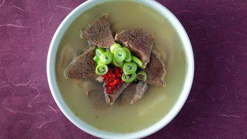 Фото бесплатно суп, лук, говядина