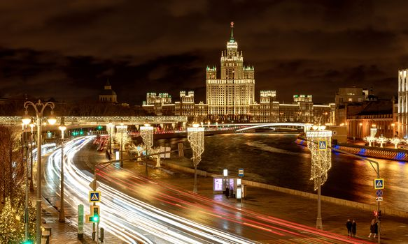 Night view on the Moscow river embankment from Bolshoi Moskvoretsky bridge.