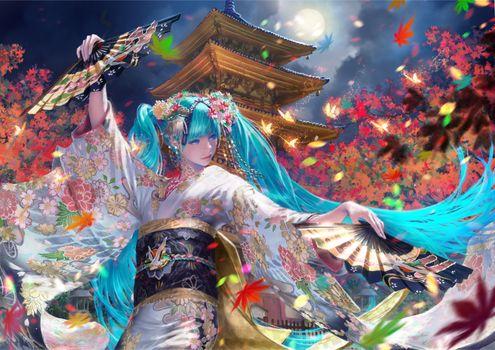 Фото бесплатно Мику Хацунэ, вокалоид, кимоно