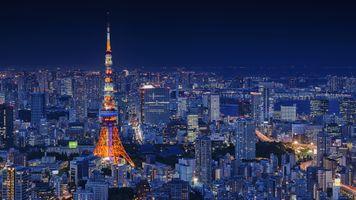 Фото бесплатно Япония Токио, ночь, городской пейзаж