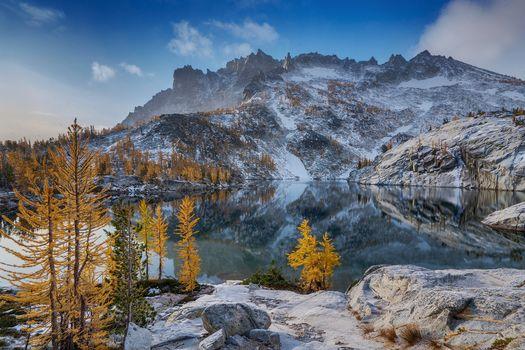 Фото бесплатно Lake Leprechaun, Washington, осень, озеро, горы, пейзаж