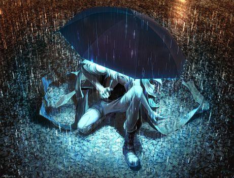 Photo free anime boy, rainy, umbrella