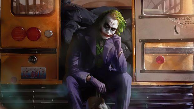 Photo free joker, bus, artwork