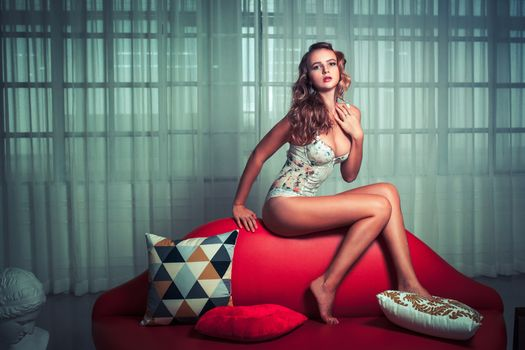 Photo free lady, couch, woman