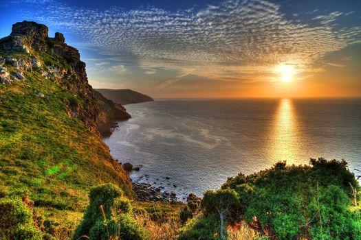 Фото бесплатно закат, янтарный закат, береговая линия