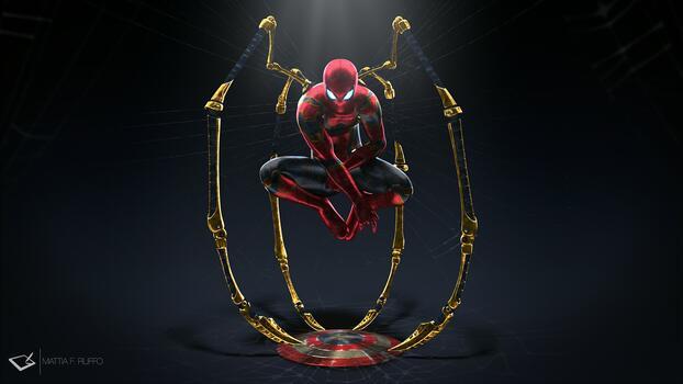 Фото бесплатно супергерой, железный паук, щит капитана америки